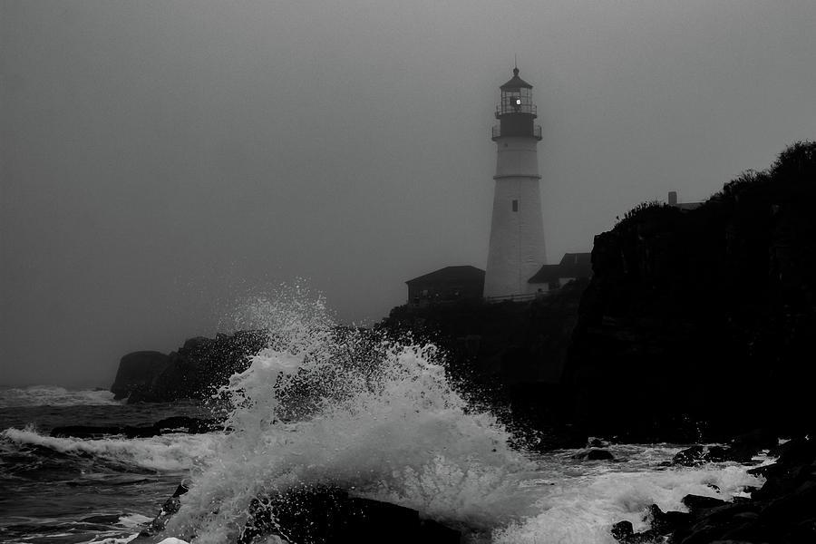 Crashing Waves on a foggy morning by Darryl Hendricks