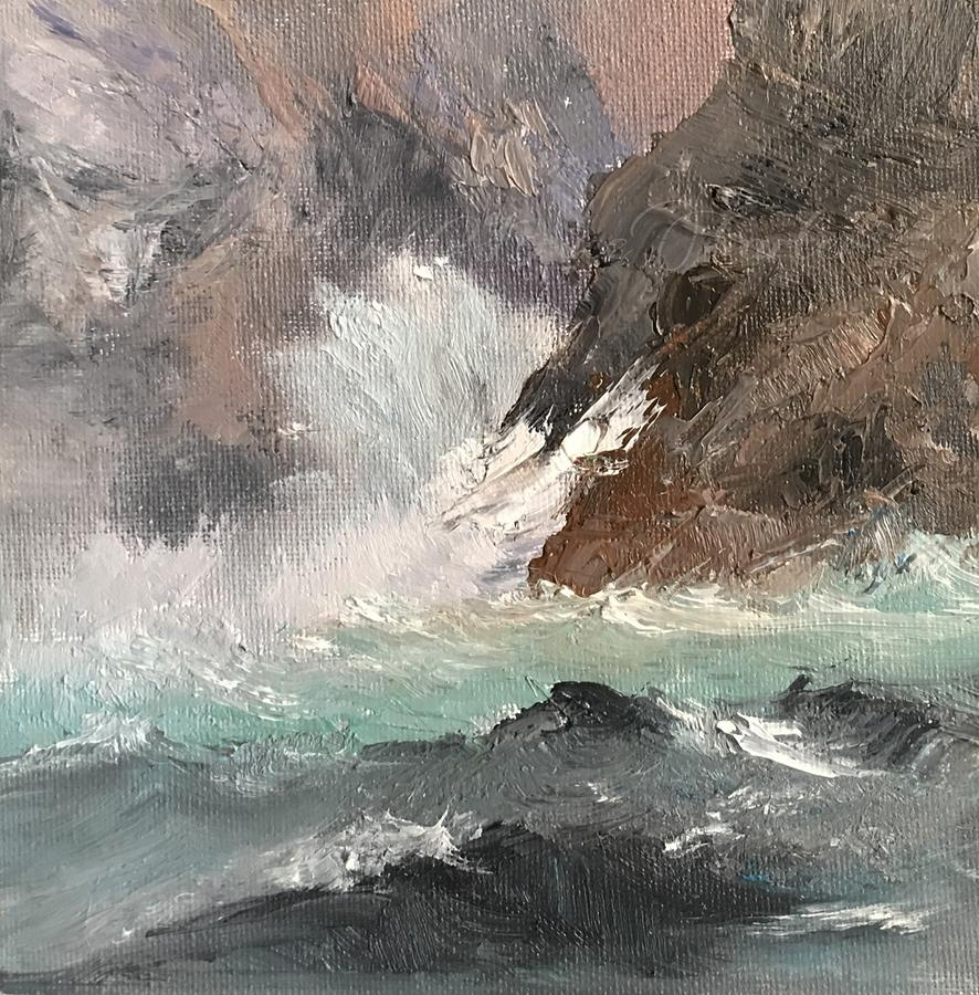 Seascape Painting - Crashing Waves Seascape Art by Michele Carter