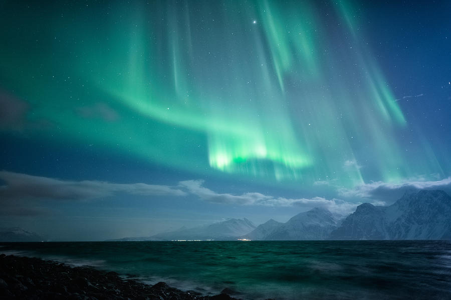 Aurora Borealis Photograph - Crashing Waves by Tor-Ivar Naess