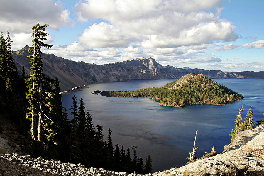 Peaceful Photograph - Crater Lake - Intense Blue Waters And Spectacular Views by Christine Till