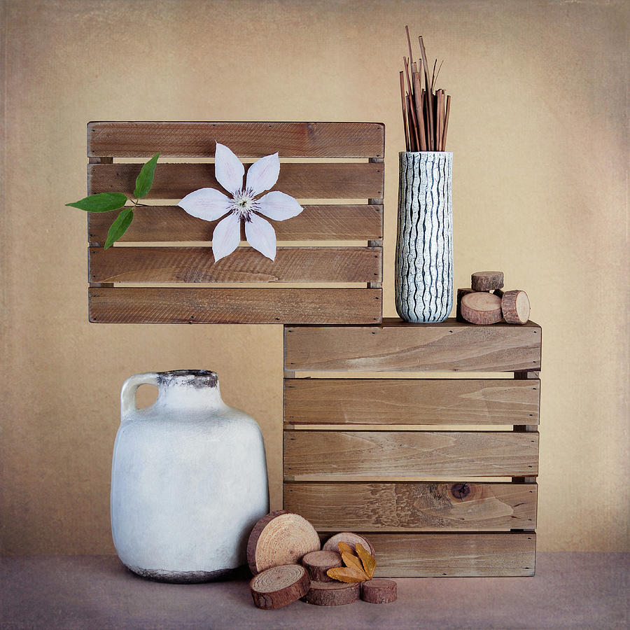 Flower Photograph - Crates With Flower Still Life by Tom Mc Nemar