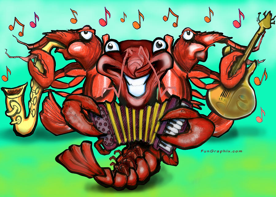 Crawfish Greeting Card - Crawfish Band by Kevin Middleton
