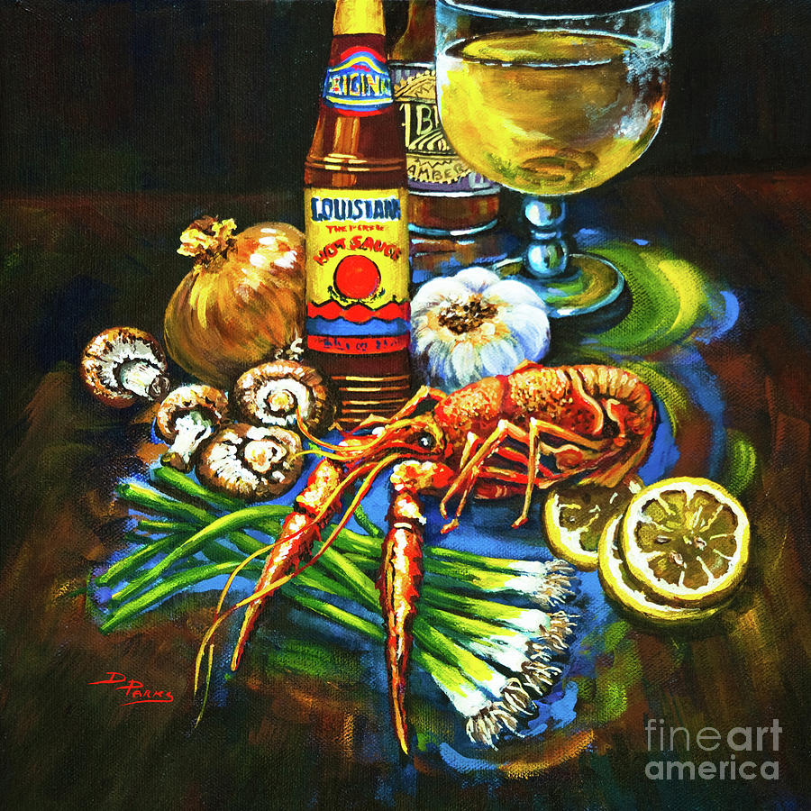 Louisiana Food Painting - Crawfish Fixins by Dianne Parks