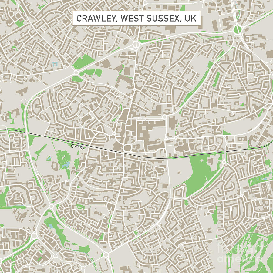 Crawley West Sussex Uk City Street Map Digital Art by Frank Ramspott