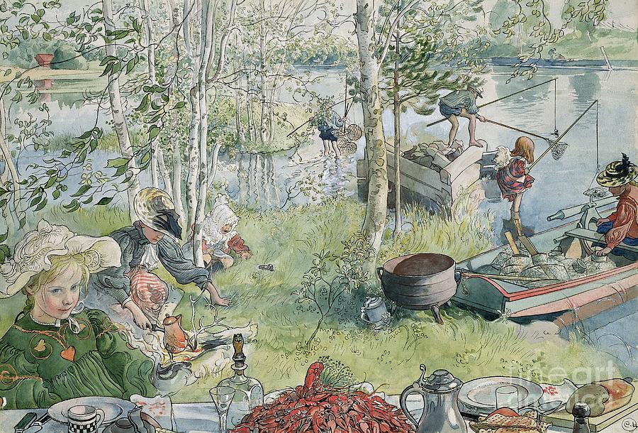 Fishing Painting - Crayfishing by Carl Larsson