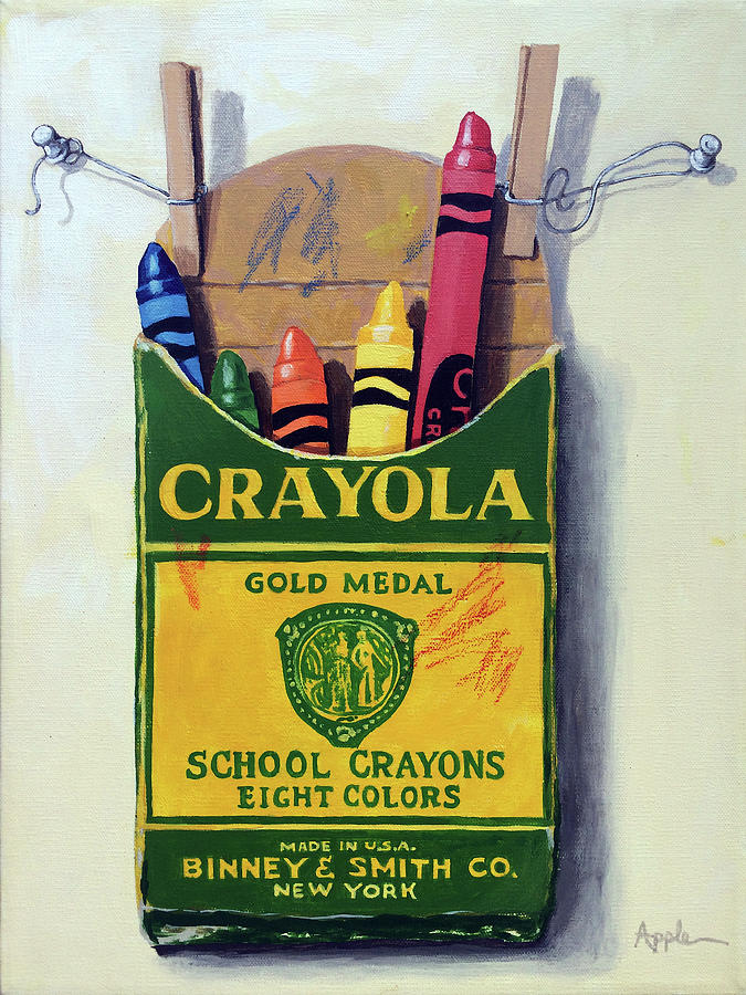 Crayons Painting - Box Of Crayons Painting by Linda Apple