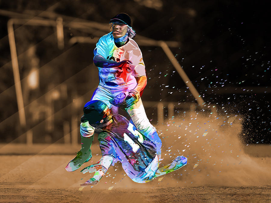 Swell Crayon Colored Abstract Action Sliding In To Home Plate Real Background Beutiful Home Inspiration Cosmmahrainfo
