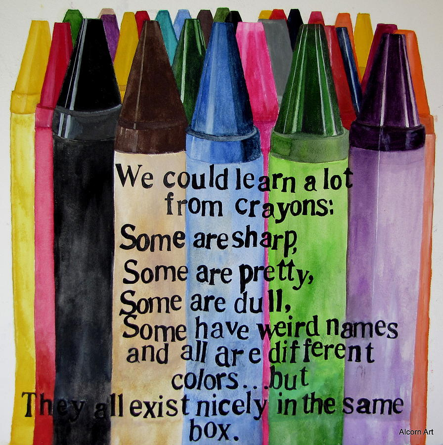 Crayons Painting - Crayons by Brenda Alcorn