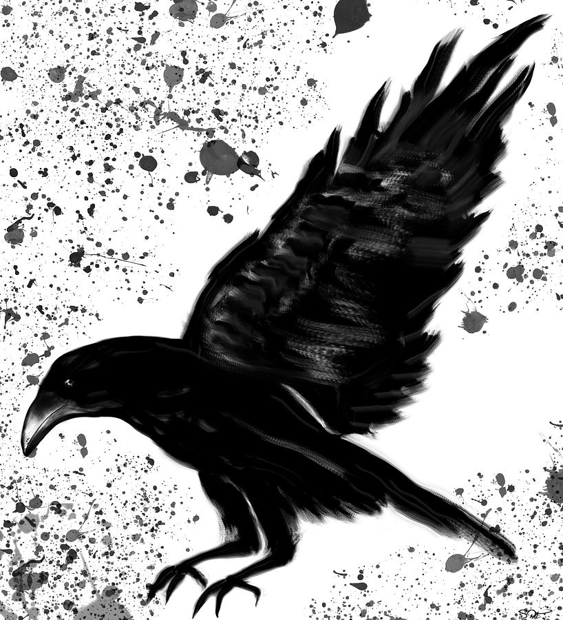 Crazy Black Crow Painting by Abstract Angel Artist Stephen K