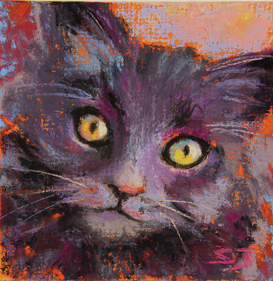 Black Kitten Painting - Crazy Cat Black Kitty by Susan Jenkins