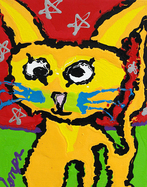 Cat Painting - Crazy Cat by Charles Harrison Pompa