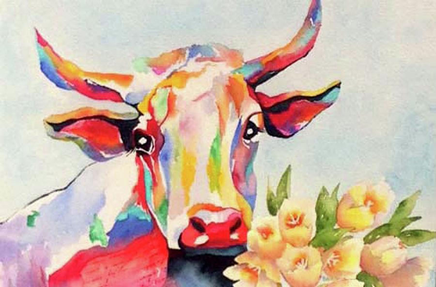 Cow Painting - Crazy Cow by Mary Blumberg