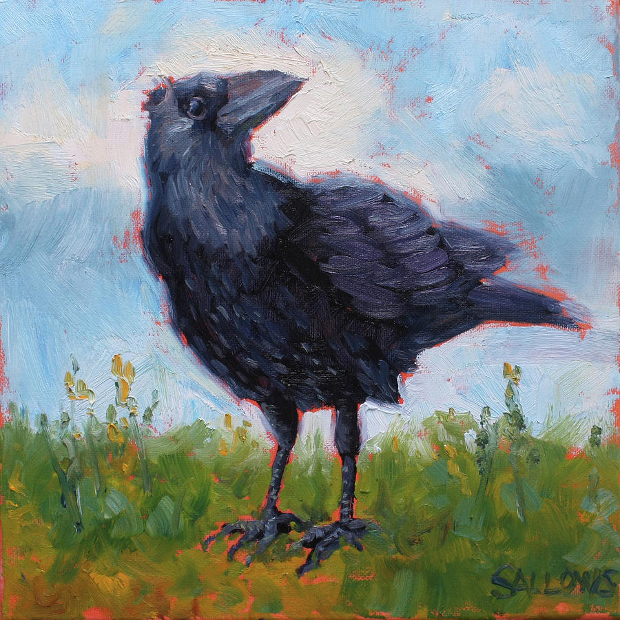 Black Crow Painting - Crazy Crow by Nora Sallows