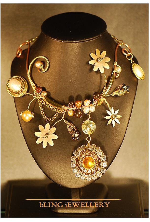 Daisies Jewelry - Crazy Daisy Art Necklace No 2 by Janine Antulov