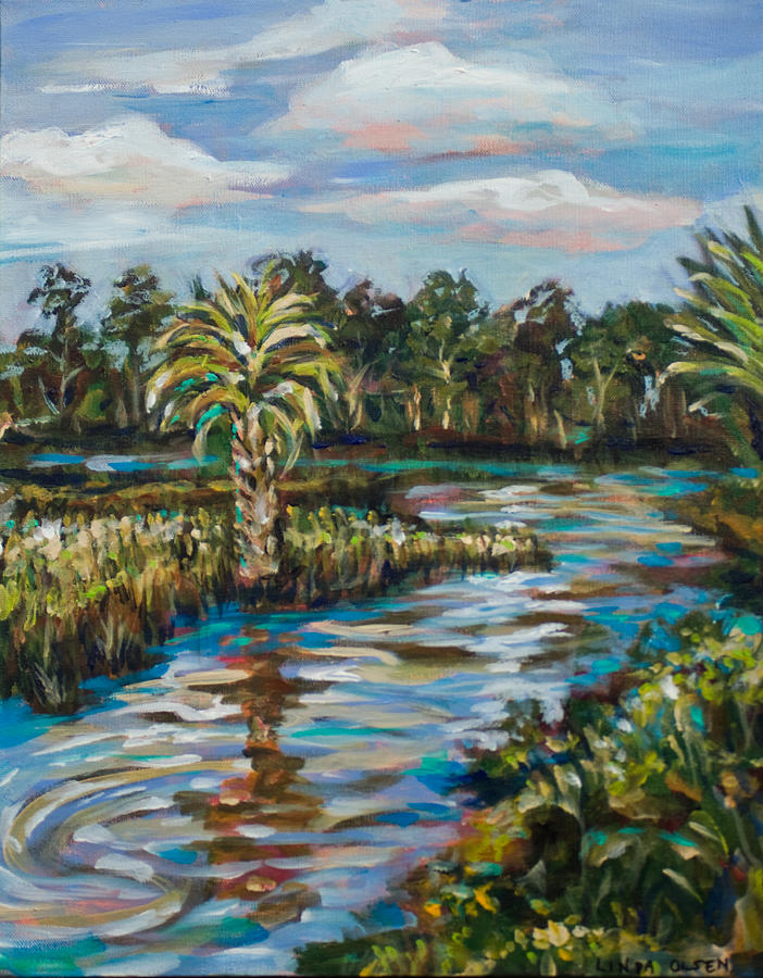 Southern Landscape Painting - Crazy Fish Bridge by Linda Olsen