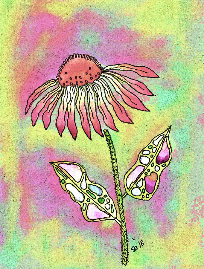 Watercolor And Ink Painting - Crazy Flower With Funky Leaves by Susan Campbell