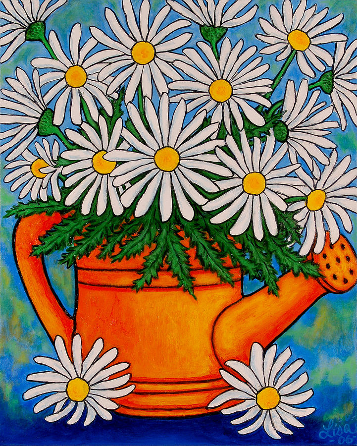 Daisies Painting - Crazy For Daisies by Lisa  Lorenz