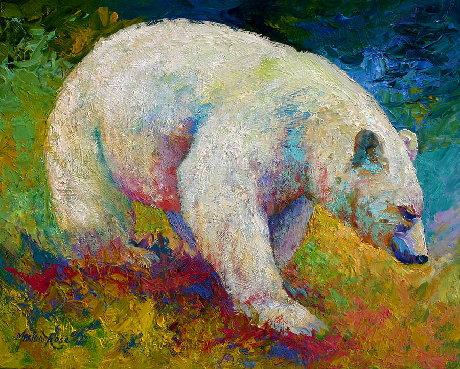 Western Painting - Creamy Vanilla - Kermode Spirit Bear Of Bc by Marion Rose