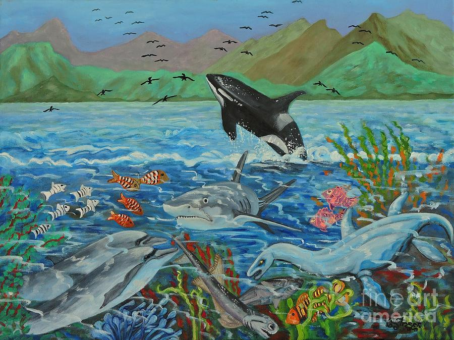 Genesis Painting - Creation Fifth Day Sea Creatures And Birds by Caroline Street