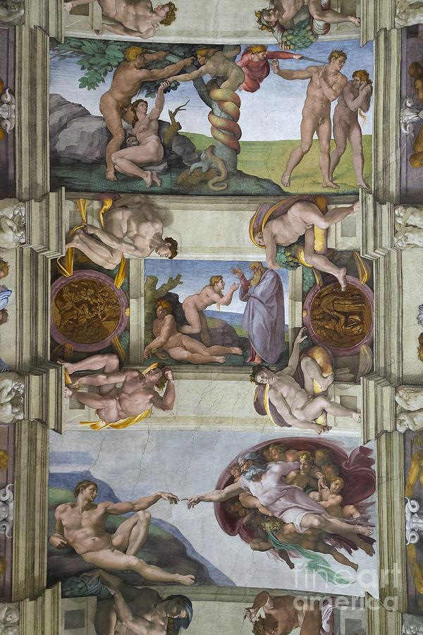 creation of adam and eve and expulsion from garden of eden sistine