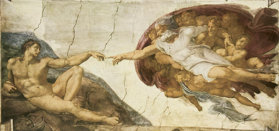 creation of adam painting by michelangelo buonarroti