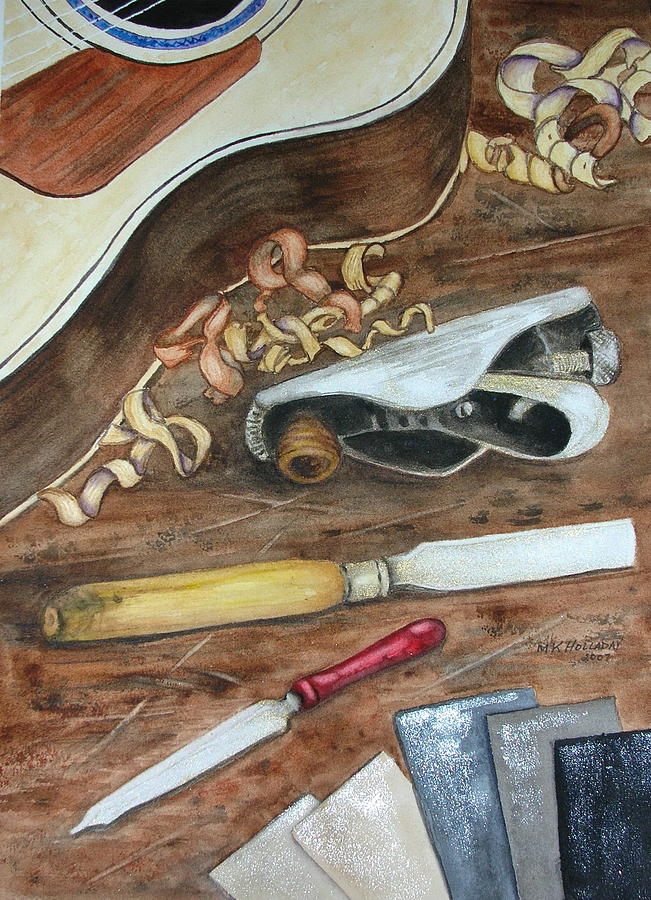 Guitars Painting - Creative Process by Mary Kay Holladay