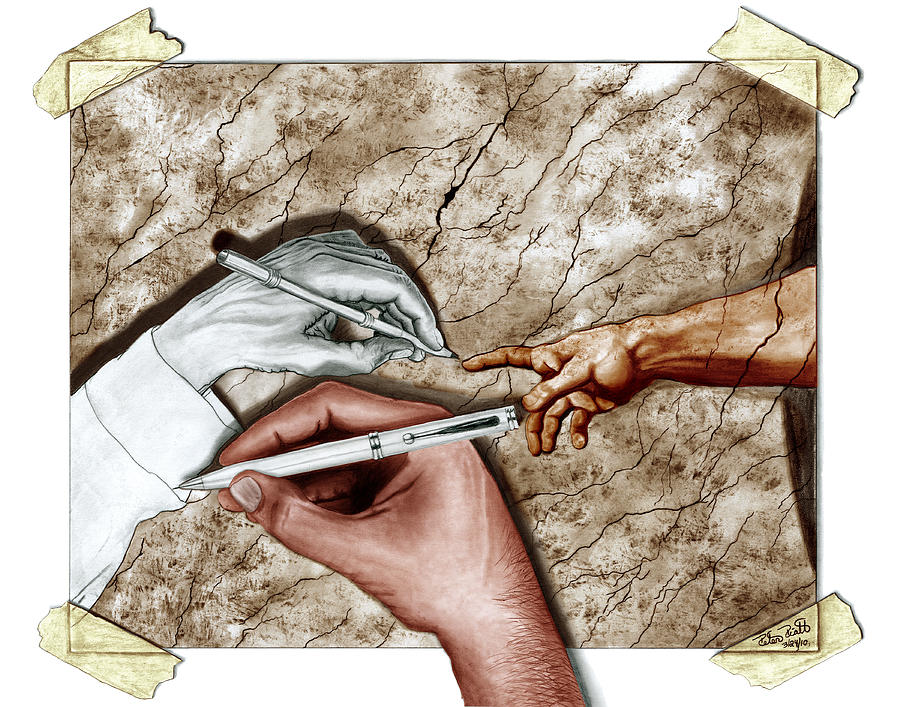 M C Escher Digital Art - Creators Hand At Work - Colored by Peter Piatt