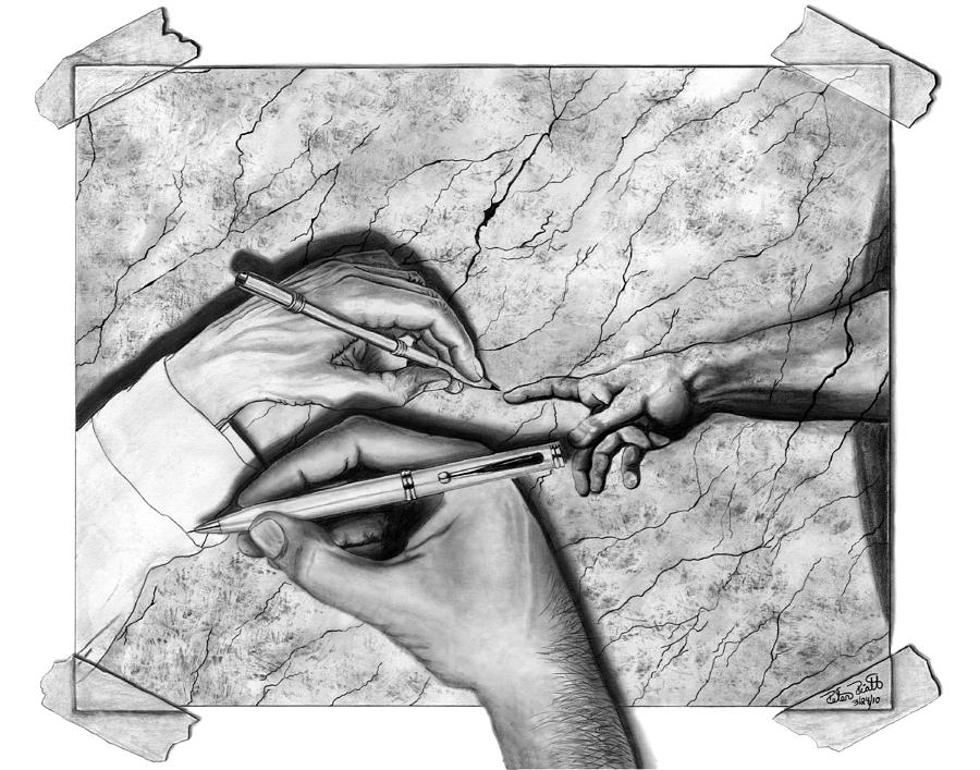 M C Escher Drawing - Creators Hand At Work by Peter Piatt