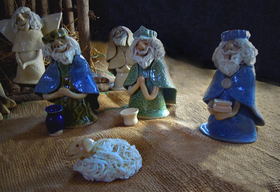 Nativity Ceramic Art - Creche Kings by Nancy Griswold