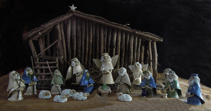 Nativity Photograph - Creche Sraight On View by Nancy Griswold
