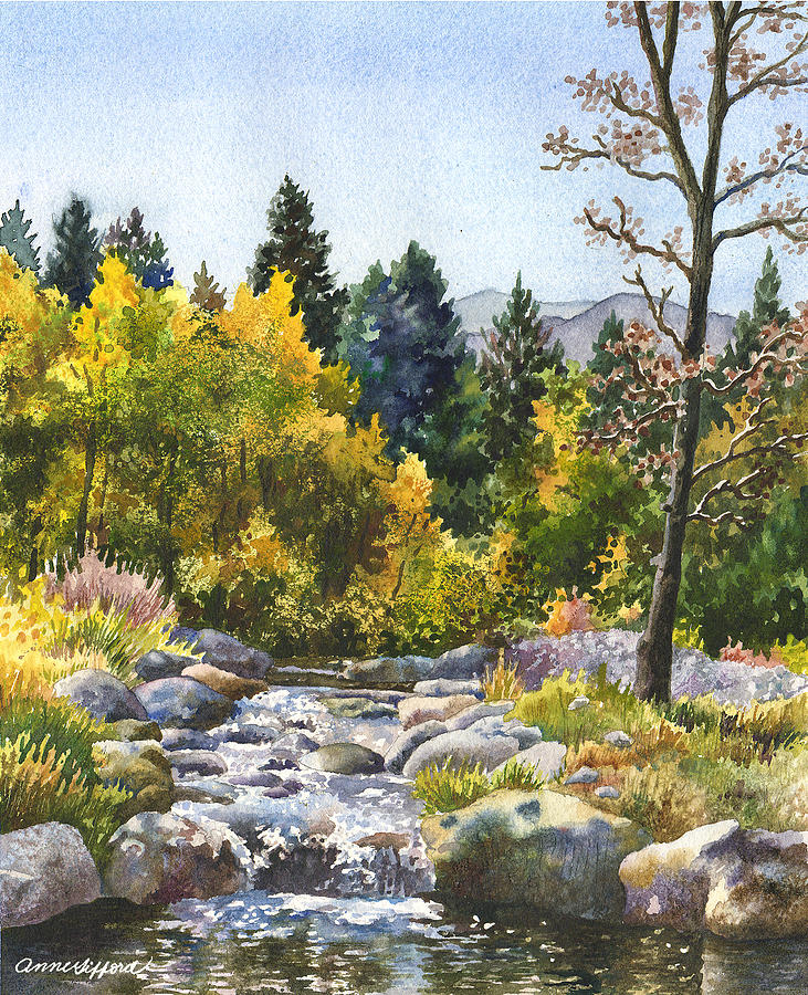 Autumn Trees Painting Painting - Creek At Caribou Ranch by Anne Gifford