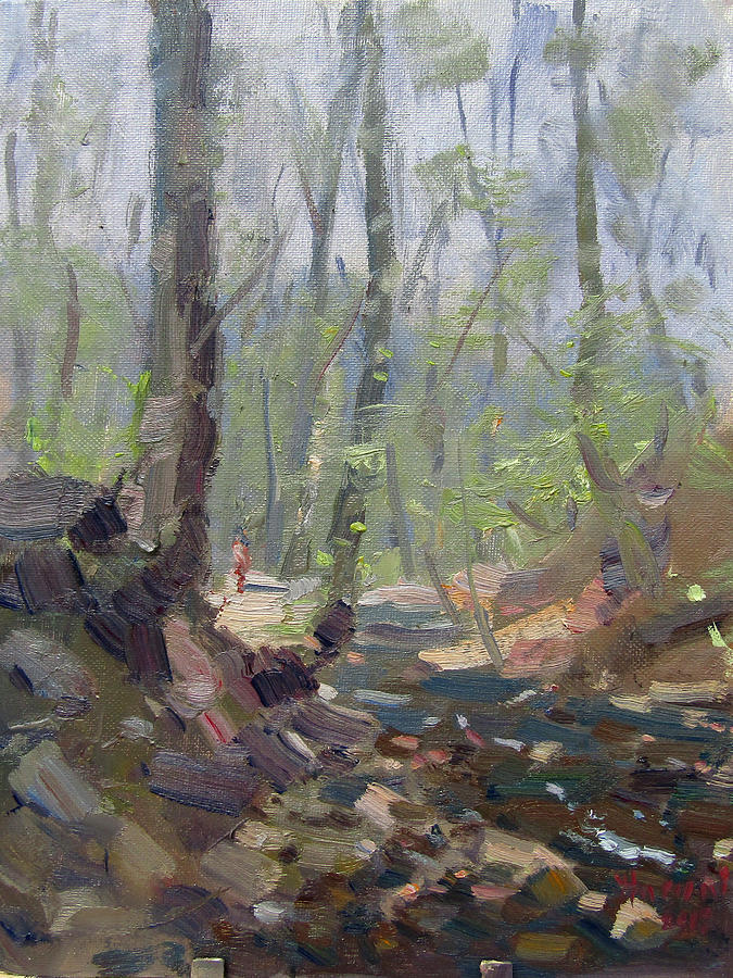 Creek Painting - Creek at Lockport Natural Trail by Ylli Haruni