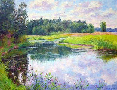 Creek In August Painting by Julia Lesnichy