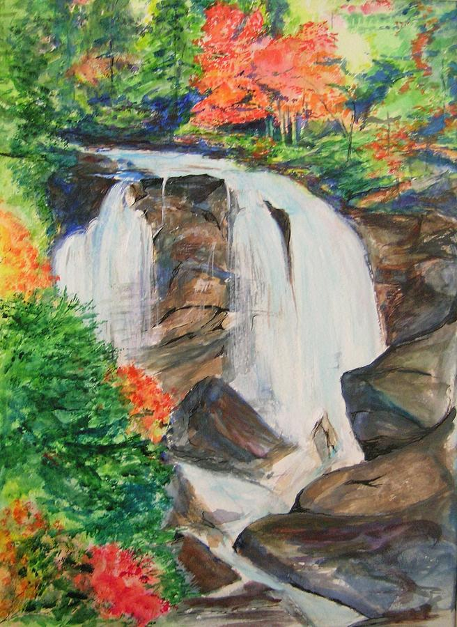 Creek Painting - Creek In Autumn by Lizzy Forrester
