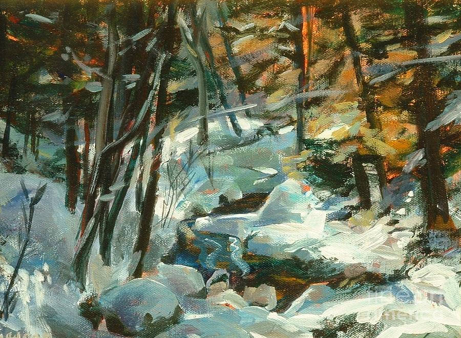 White Painting - Creek In The Cold by Claire Gagnon