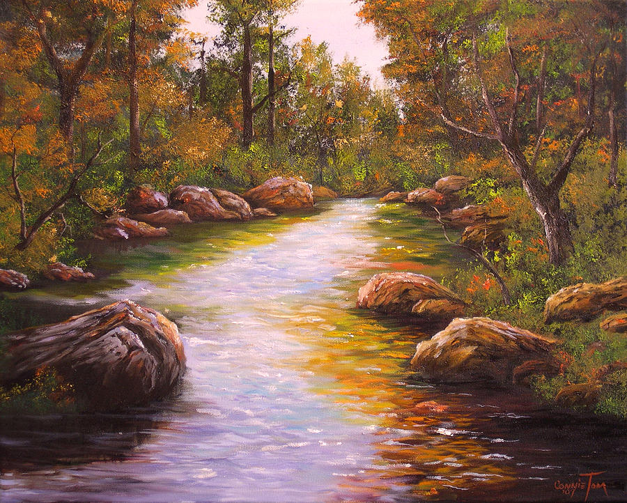 Hudson River School Painting - Creek Retreat Vii by Connie Tom