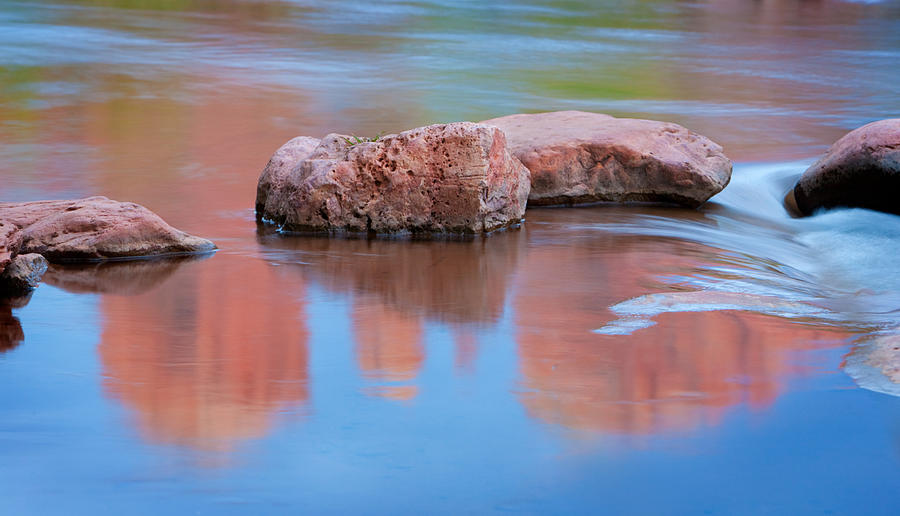 Red Rocks Photograph - Creek Rocks With Cathedral Rock Reflection by Bob Coates
