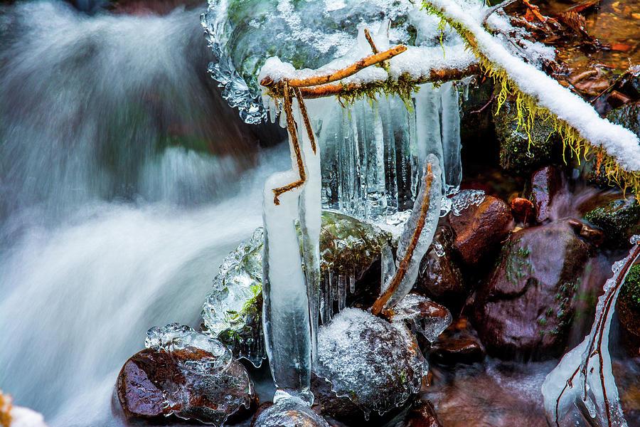 Riverscape Photograph - Creekside Icicles by Jason Brooks