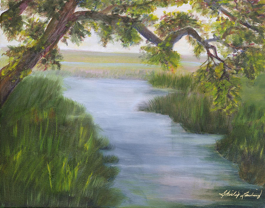 Marsh Scene Painting - Creekside by Shirley Lawing