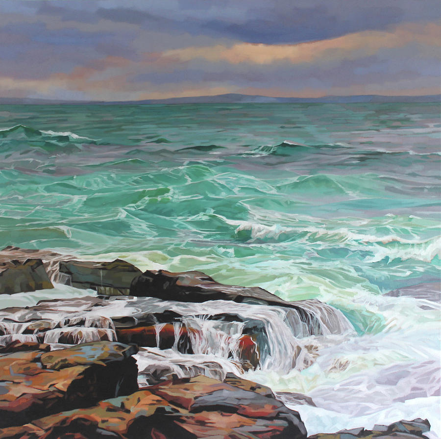 Wild Painting - Creevy Storm 3, Waves Spill Over The Rocks by Kevin Lowery