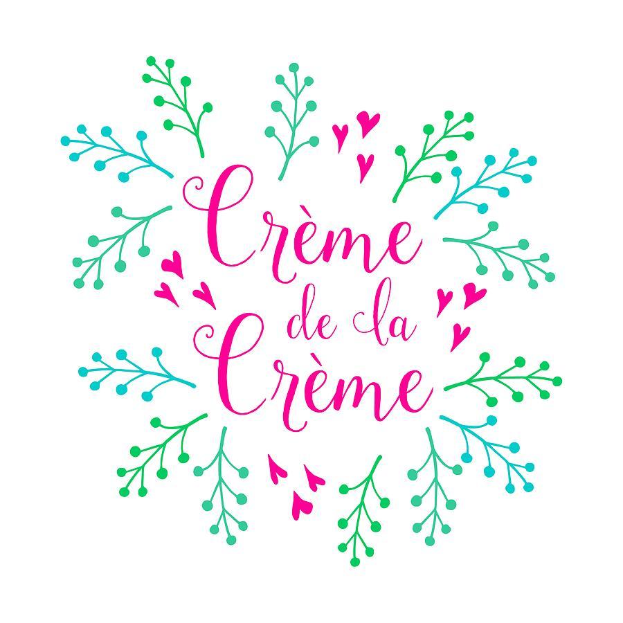 Typography Digital Art - Creme De La Creme Pink Hearts by Antique Images