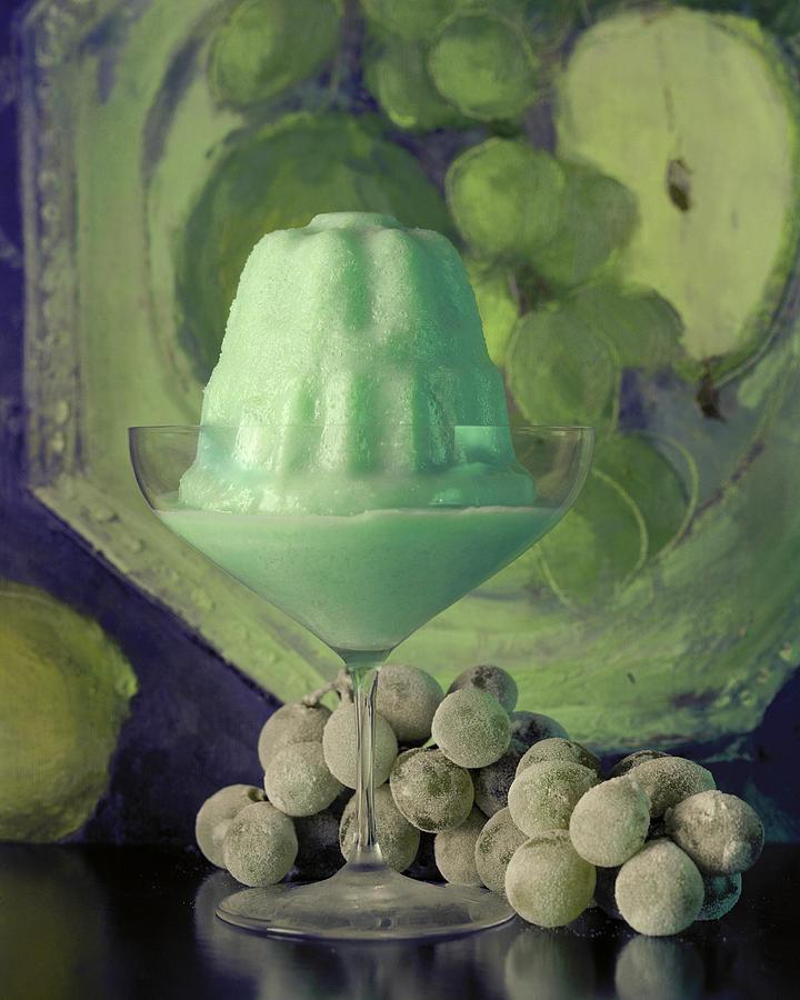 Creme De Menthe With Grapes Photograph by Fotiades