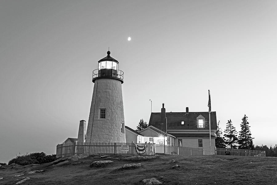 Pemaquid Photograph   Crescent Moon Over The Pemaquid Point Lighthouse  Pemaquid Me Black And White By