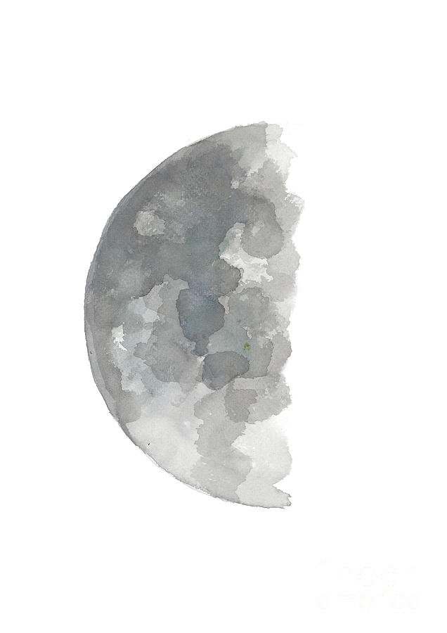 Crescent Moon Watercolor Painting Silver Blue Gray