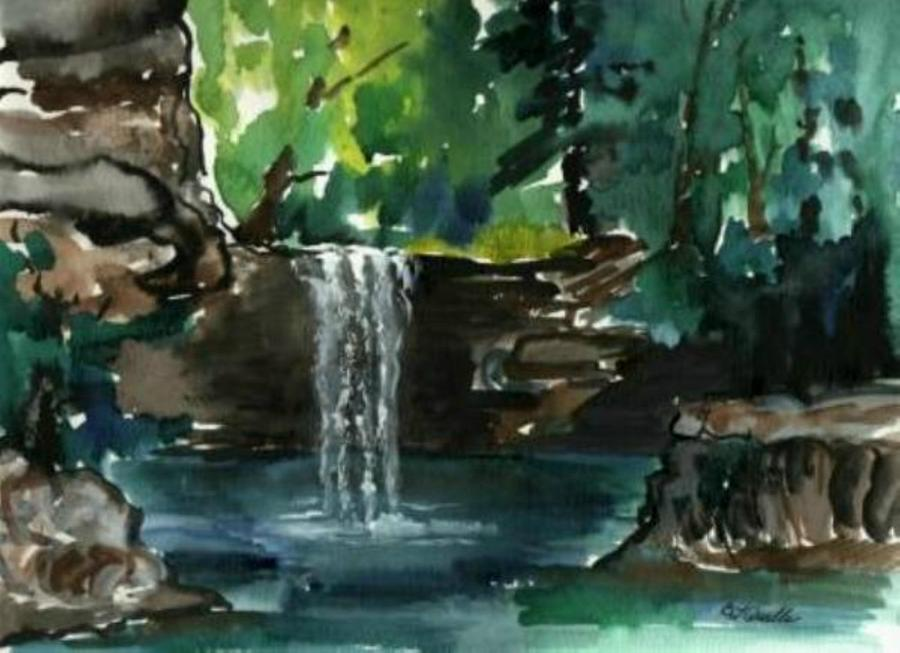 Nature Painting - Cress Waterfall by B L Qualls