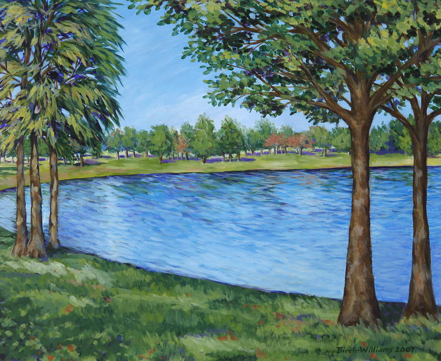 Lake Painting - Crest Lake Park by Penny Birch-Williams