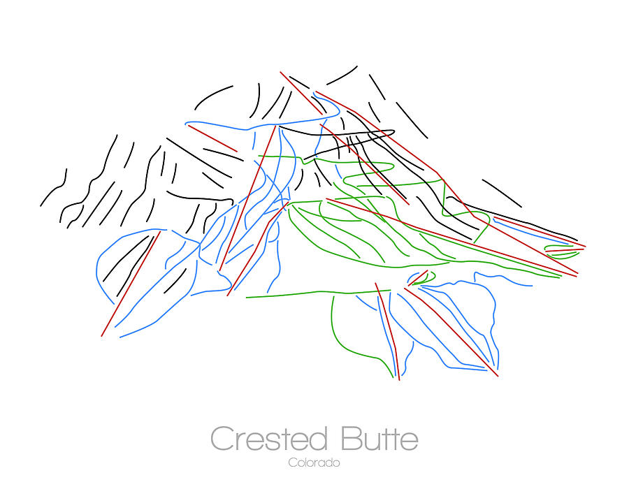 Crested Butte Colorado Co Ski Snowboard Resort Trial Map Digital Art