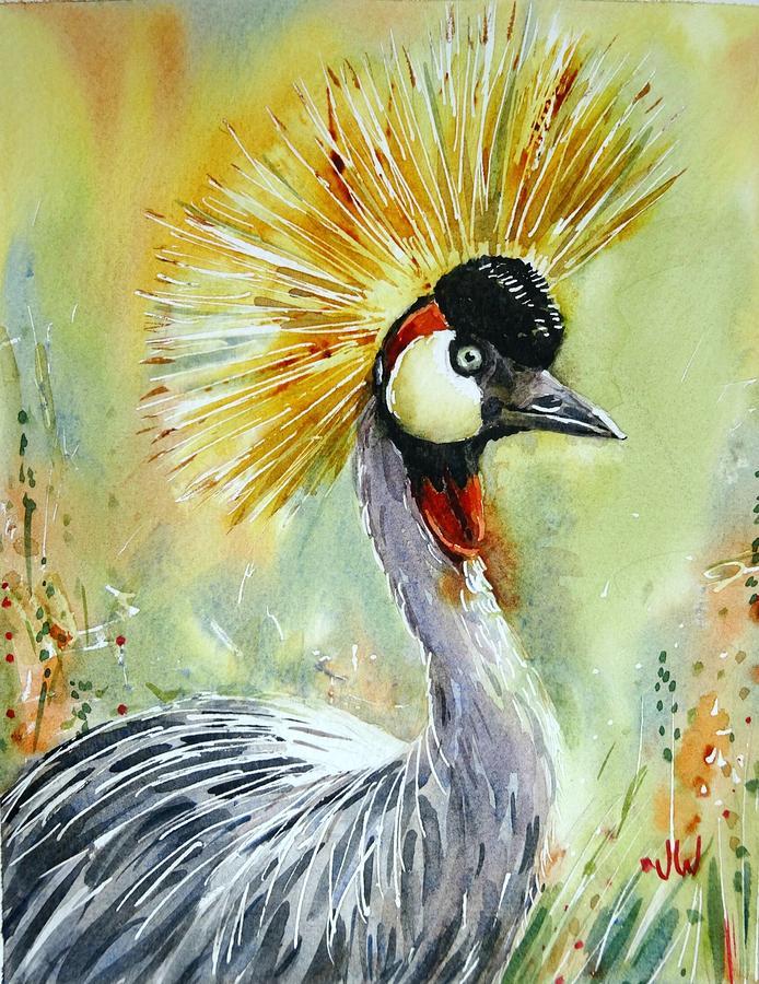 Crested crane by June Walker