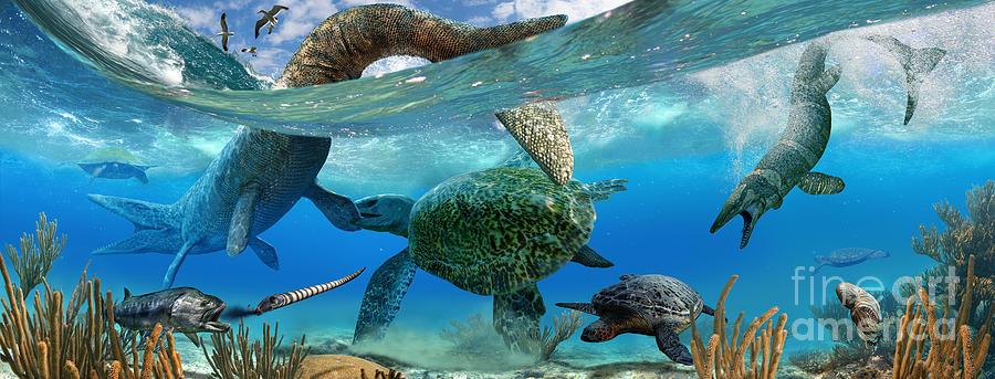 Paleoart Digital Art - Cretaceous Marine Scene by Julius Csotonyi