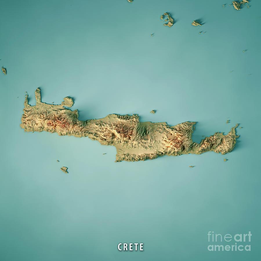 Crete Digital Art - Crete Island Greece 3D Render Topographic Map by Frank Ramspott